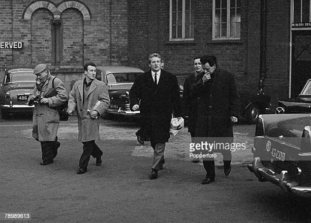 Football November 1963 Birmingham England Aston Villa v Manchester United Manchester United's Denis Law leaves the Villa Park ground after being sent...