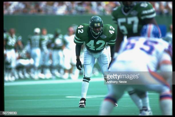 Jets Ronnie Lott during game vs Denver Broncos.