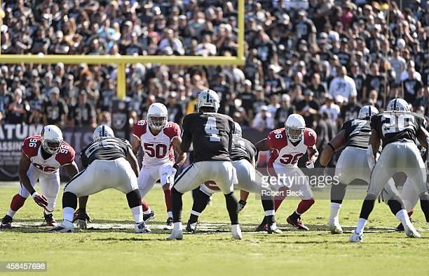 Oakland Raiders QB Derek Carr in action taking snap from center Stefen Wisniewski as running back Darren McFadden lines up to block vs Arizona...