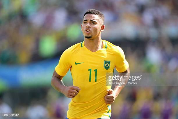 Day 12 Gabriel Jesus of Brazil after scoring during the Brazil Vs Honduras Men's Semifinal match at Maracana Stadium on August 17 2016 in Rio de...