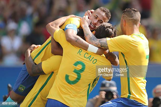 Day 12 Neymar of Brazil celebrates with team mates Marquinhos of Brazil Rodrigo Caio of Brazil Luan of Brazil after a goal during the Brazil Vs...