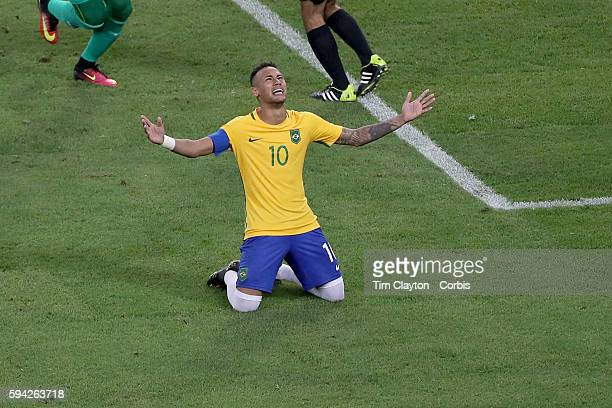 Day 15 Neymar of Brazil in tears after scoring the winning penalty kick during the Brazil Vs Germany Men's Football Gold Medal Match at Maracana on...