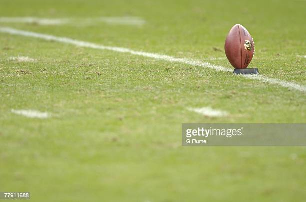 A football on a tee before a kickoff during the game between the Washington Redskins and the Philadelphia Eagles November 11 2007 at FedEx Field in...