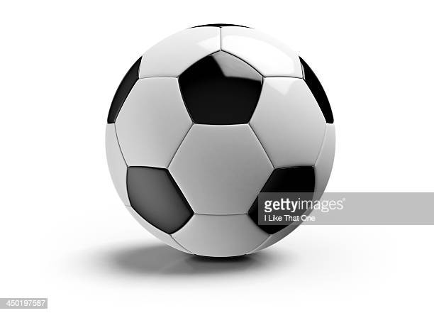 football on a white background - palla sportiva foto e immagini stock