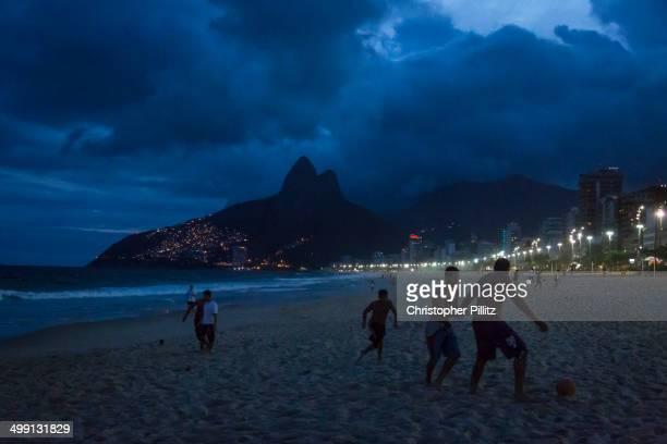 Football on Ipanema beach, Rio de Janeiro, Brazil