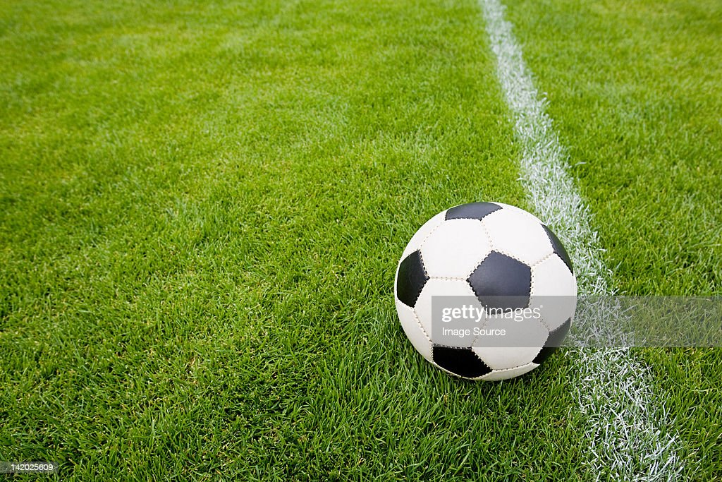 Football on pitch : Stock Photo