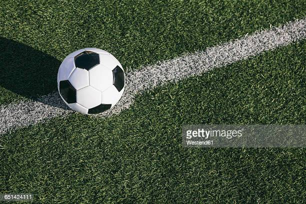 football on the line on football ground - kick off stock pictures, royalty-free photos & images