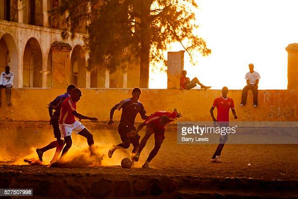Football on the main square of Goree island Senegal Gor��e is both the smallest and the least populated of the 19 communes d'arrondissement of Dakar...