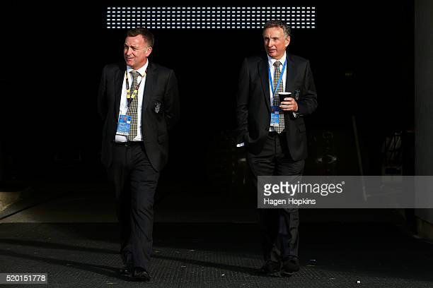 Football Operations Manager Shaun Gill and Coach Ernie Merrick of the Phoenix look on during the round 27 ALeague match between the Wellington...