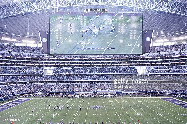 Overall view of HD video screen above field during Dallas Cowboys vs Minnesota Vikings game at ATT Stadium Arlington TX CREDIT Greg Nelson