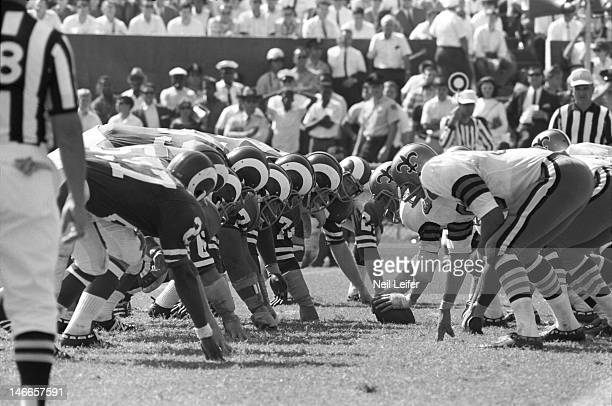 Overall view of Los Angeles Rams defensive line lined up during game vs New Orleans Saints at Tulane Stadium. Fearsome Foursome.New Orleans, LA...
