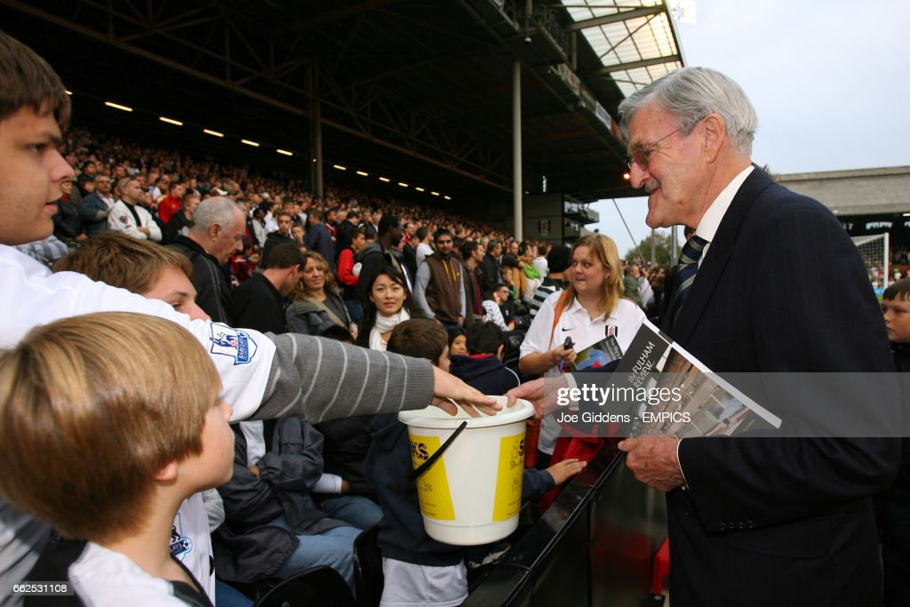 Football personality Jimmy Hill collects money for the SPARKS charity before the match