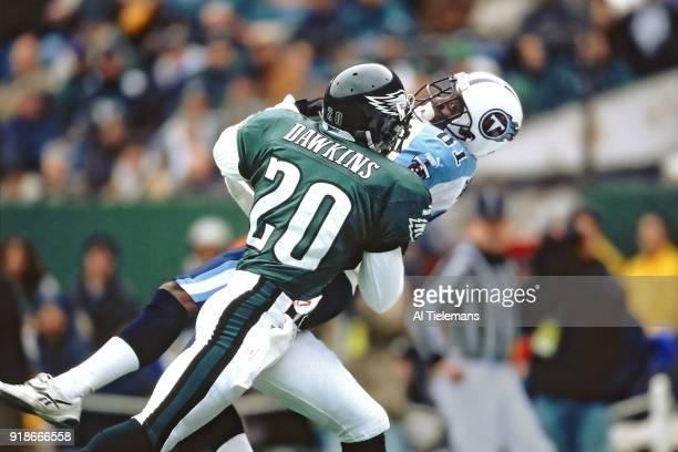 Philadelphia Eagles Brian Dawkins in action pass defense vs Tennessee Titans Chris Sanders at Lincoln Financial Field Philadelphia PA CREDIT Al...