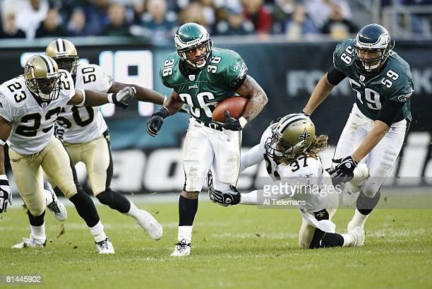 Football Philadelphia Eagles Brian Westbrook in action vs New Orleans Saints Steve Gleason Philadelphia PA