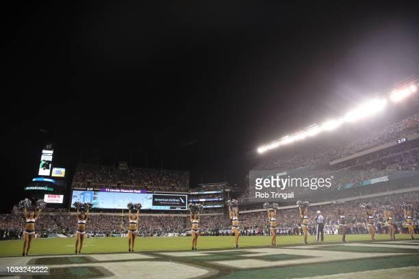 Philadelphia Eagles cheerleaders performing on field during game vs Atlanta Falcons at Lincoln Financial Field Philadelphia PA CREDIT Rob Tringali