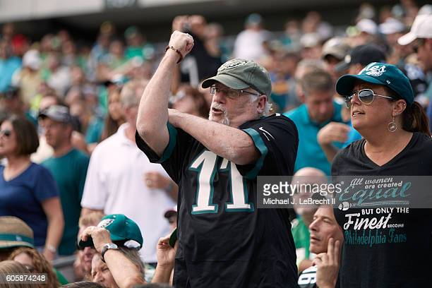 Philadelphia Eagles fan in stands making obscene gesture during game vs Cleveland Browns at Lincoln Financial Field Philadelphia PA CREDIT Michael J...