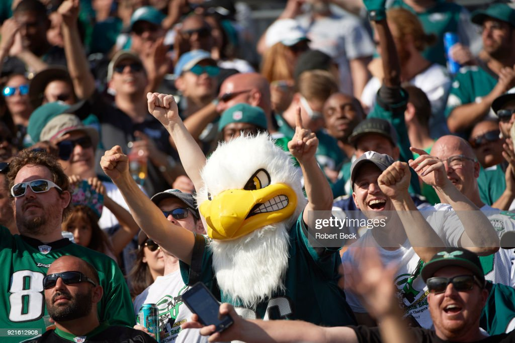 Philadelphia Eagles fans in stands during game vs Los Angeles Chargers at StubHub Center. Robert Beck TK1 )