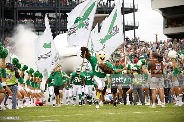 Philadelphia Eagles mascot taking field before game vs Green Bay Packers Philadelphia PA 9/12/2010 CREDIT Al Tielemans