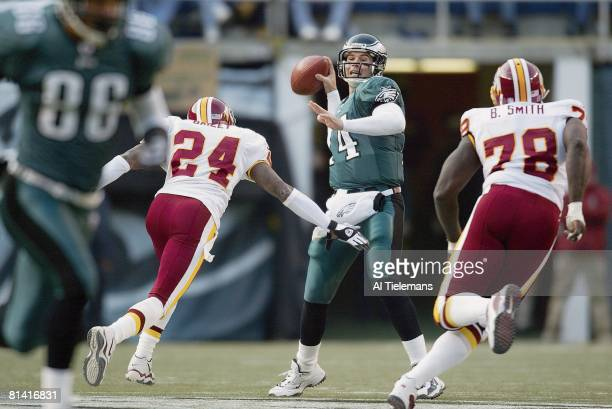Football Philadelphia Eagles QB AJ Feeley in action making pass vs Washington Redskins Champ Bailey Philadelphia PA