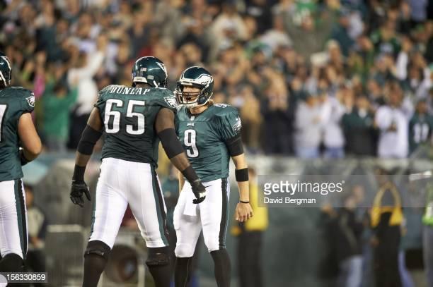 Philadelphia Eagles QB Nick Foles victorious with King Dunlap vs Dallas Cowboys at Lincoln Financial Field. Philadelphia, PA CREDIT: David Bergman