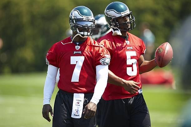 Philadelphia Eagles quarterbacks Michael Vick (7) and Donovan McNabb (5)  during practice fd4739395