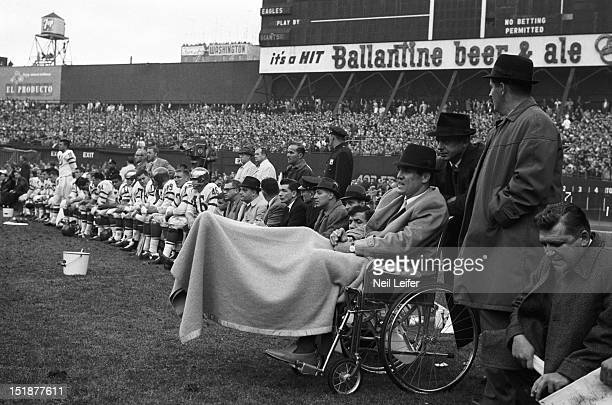 Philadelphia Eagles Tom Brookshier casual on sidelines in wheelchair during game vs New York Giants at Yankee Stadium Brookshier sustained a...