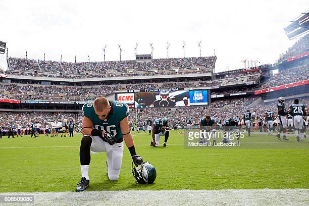 Philadelphia Eagles Zach Ertz down on one knee in end zone during game vs Cleveland Browns at Lincoln Financial Field Philadelphia PA CREDIT Michael...