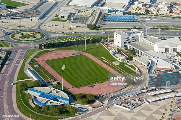 football pitch at aspire zone (doha sports city) - doha fotografías e imágenes de stock