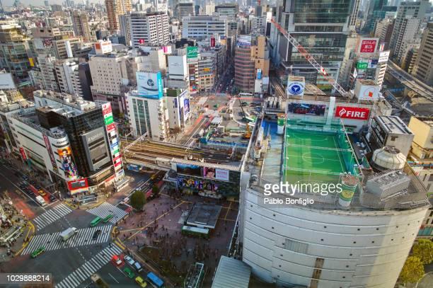 Football pitch at Shibuya crossing in Tokyo, Japan