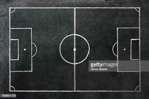 Football pitch drawn on a chalkboard
