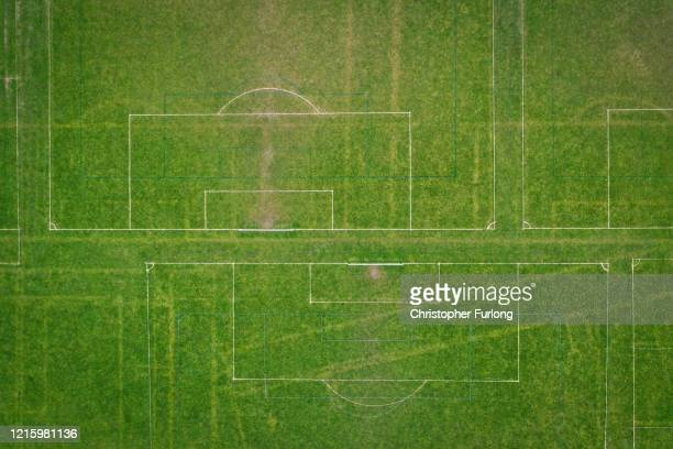 Football pitches remain dormant and unused during the pandemic lockdown on March 31, 2020 in Northwich, United Kingdom. The Coronavirus pandemic has...
