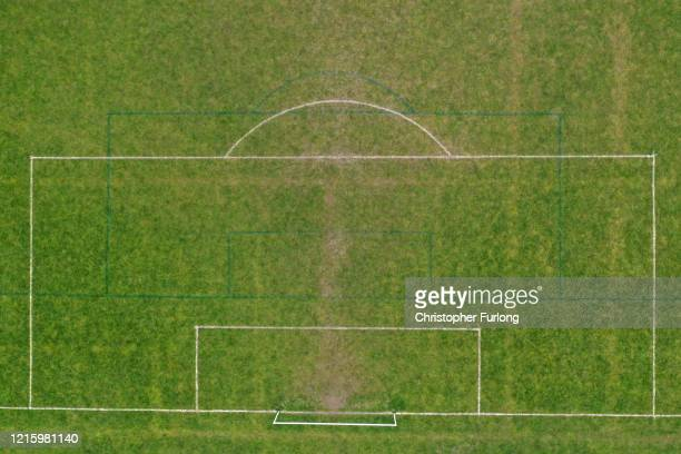 Football pitches remain dormant and unused during the pandemic lockdown on March 31 2020 in Northwich United Kingdom The Coronavirus pandemic has...