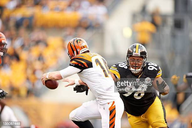 Pittsburgh Steelers Casey Hampton in action defense vs Cincinnati Bengals QB Andy Dalton at Heinz Field Pittsburgh PA CREDIT Carlos M Saavedra
