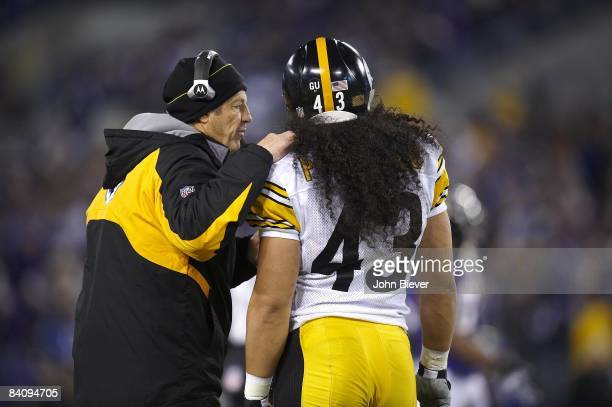 Pittsburgh Steelers defensive coordinator Dick LeBeau with Troy Polamalu on sidelines during game vs Baltimore Ravens. Baltimore, MD CREDIT: John...