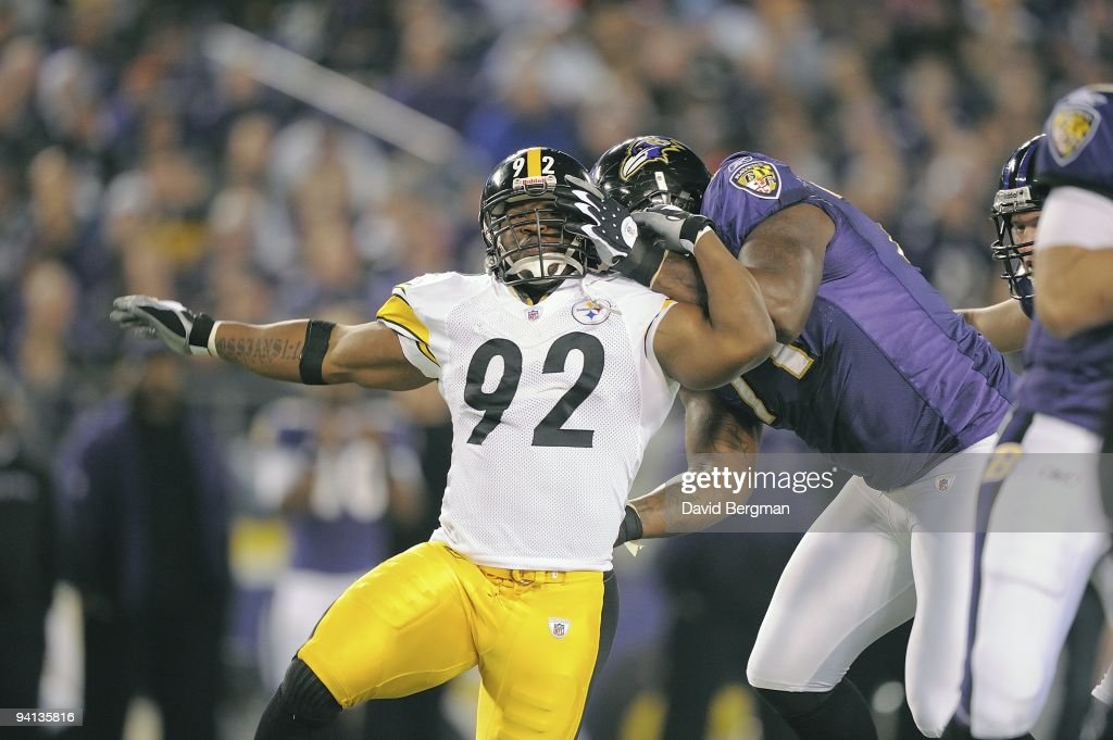 ed1bab04330 Pittsburgh Steelers James Harrison in action vs Baltimore Ravens ...