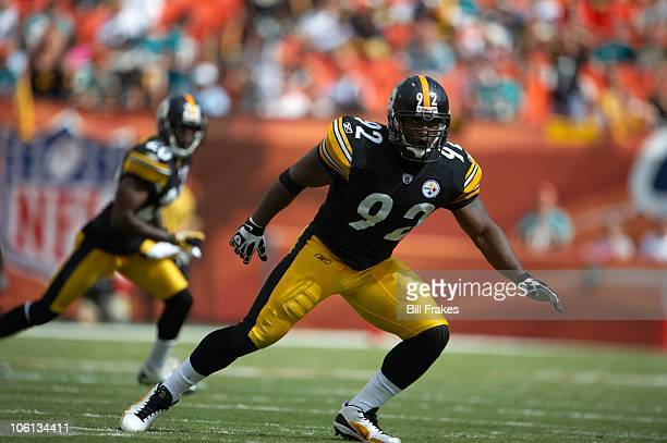 Pittsburgh Steelers James Harrison in action vs Miami Dolphins Miami FL CREDIT Bill Frakes