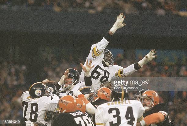 Pittsburgh Steelers LC Greenwood in action attempting block vs Cincinnati Bengals at Riverfront Stadium Cincinnati OH CREDIT Heinz Kluetmeier
