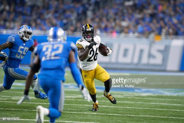 Pittsburgh Steelers Le'Veon Bell in action rushing vs Detroit Lions at Ford Field Detroit MI CREDIT David E Klutho