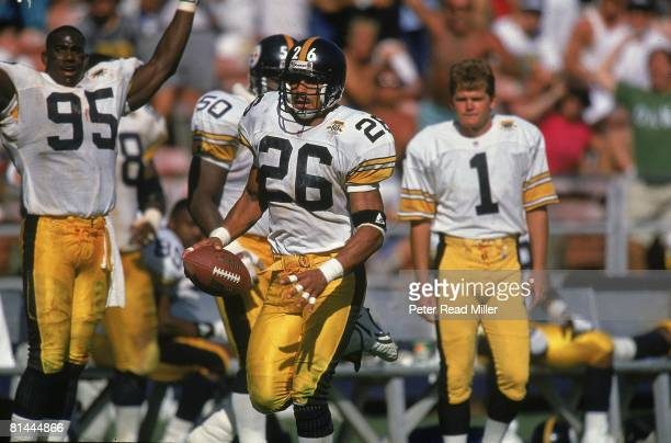Football Pittsburgh Steelers Rod Woodson in action returning interception vs San Diego Chargers San Diego CA 9/20/1992