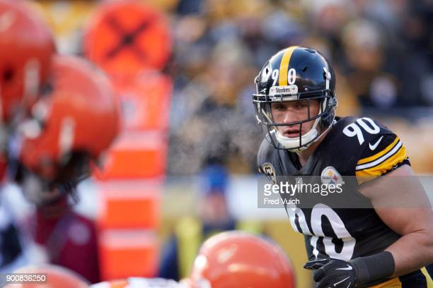 Pittsburgh Steelers TJ Watt at line of scrimmage during game vs Cleveland Browns at Heinz Field Pittsburgh PA CREDIT Fred Vuich