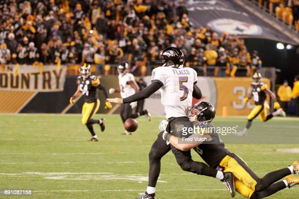 Pittsburgh Steelers TJ Watt in action forcing fumble vs Baltimore Ravens Joe Flacco at Heinz Field Pittsburgh PA CREDIT Fred Vuich