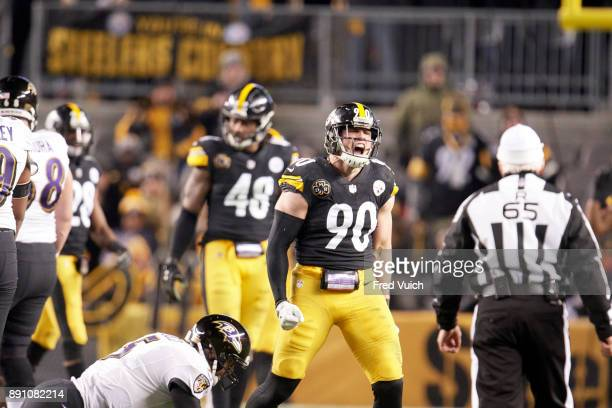 Pittsburgh Steelers TJ Watt victorious during game vs Baltimore Ravens at Heinz Field Pittsburgh PA CREDIT Fred Vuich