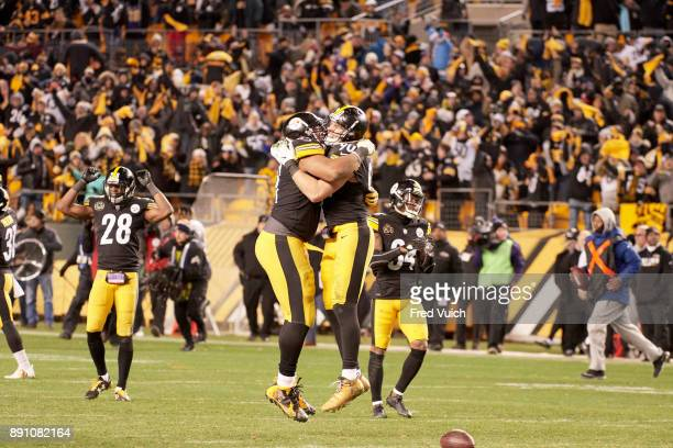 Pittsburgh Steelers TJ Watt victorious with teammates during game vs Baltimore Ravens at Heinz Field Pittsburgh PA CREDIT Fred Vuich
