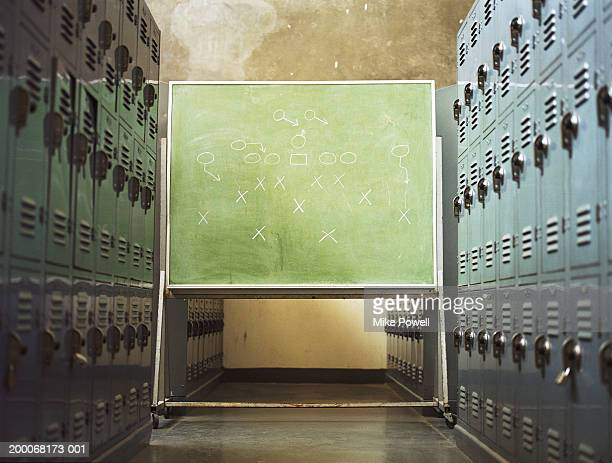 football play written on chalkboard in locker room - locker room stock pictures, royalty-free photos & images