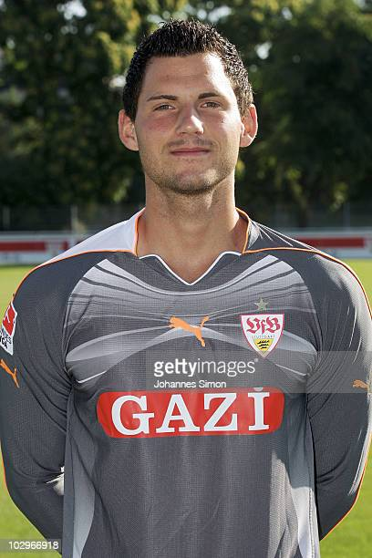 Football player Alexander Stolz poses during the VfB Stuttgart team presentation on July 19 2010 in Stuttgart Germany