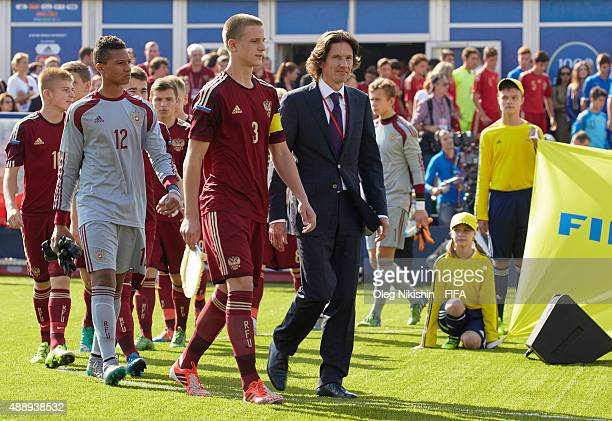 Football player Alexey Smertin attends opening Ceremony of the U16 Young Tournament during FIFA '1000 Days to Go' - Russia 2018 at the Red Square on...