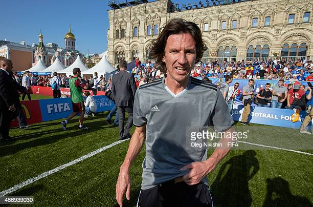 Football player Alexey Smertin during the U16 Young Tournament during FIFA '1000 Days to Go' - Russia 2018 at the Red Square on September 18, 2015 in...