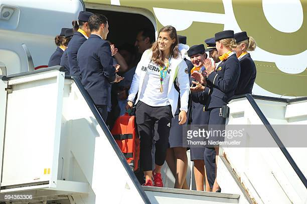 Football player and gold medalist Lisa Weiss is seen during the arrival of German Summer Olympic Athletes from the Olympic Games in Rio at Frankfurt...