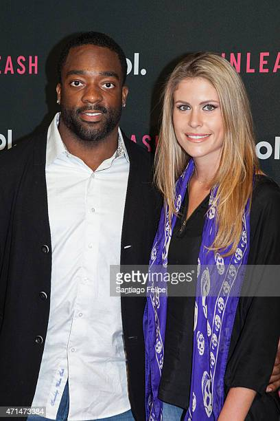 Football player Andre Williams and wife Carolyn Jay at AOL Newfront 2015 at 4 World Trade Center on April 28 2015 in New York City
