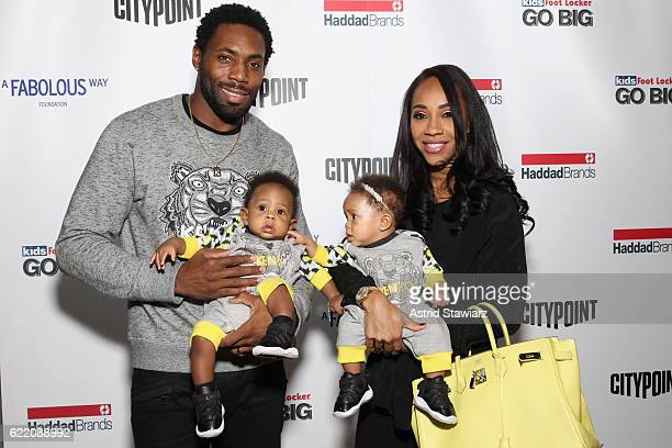 Football player Antonio Cromartie and Terricka Cromartie and twins Jynx Cromartie and J'adore Cromartie attend BKLYN Rocks presented by City Point...
